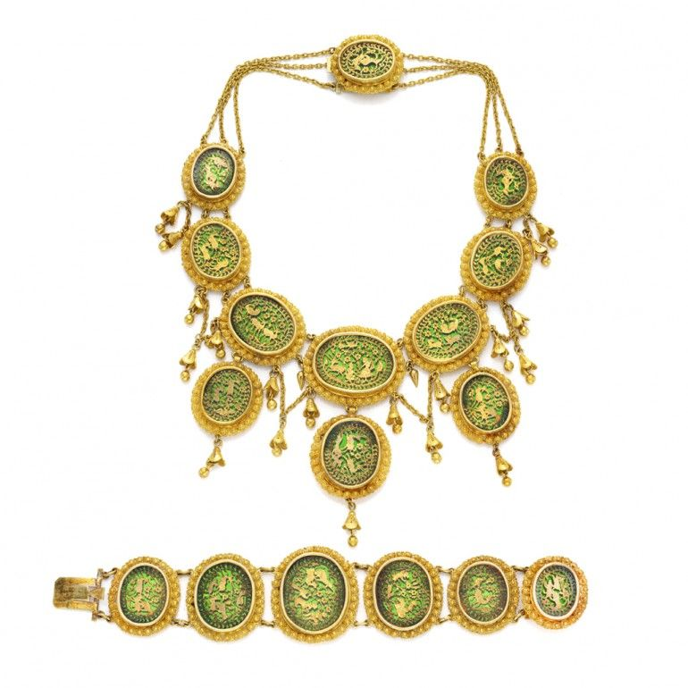 Suite of Indian Pratapgarh jewelry, circa 1880 | India