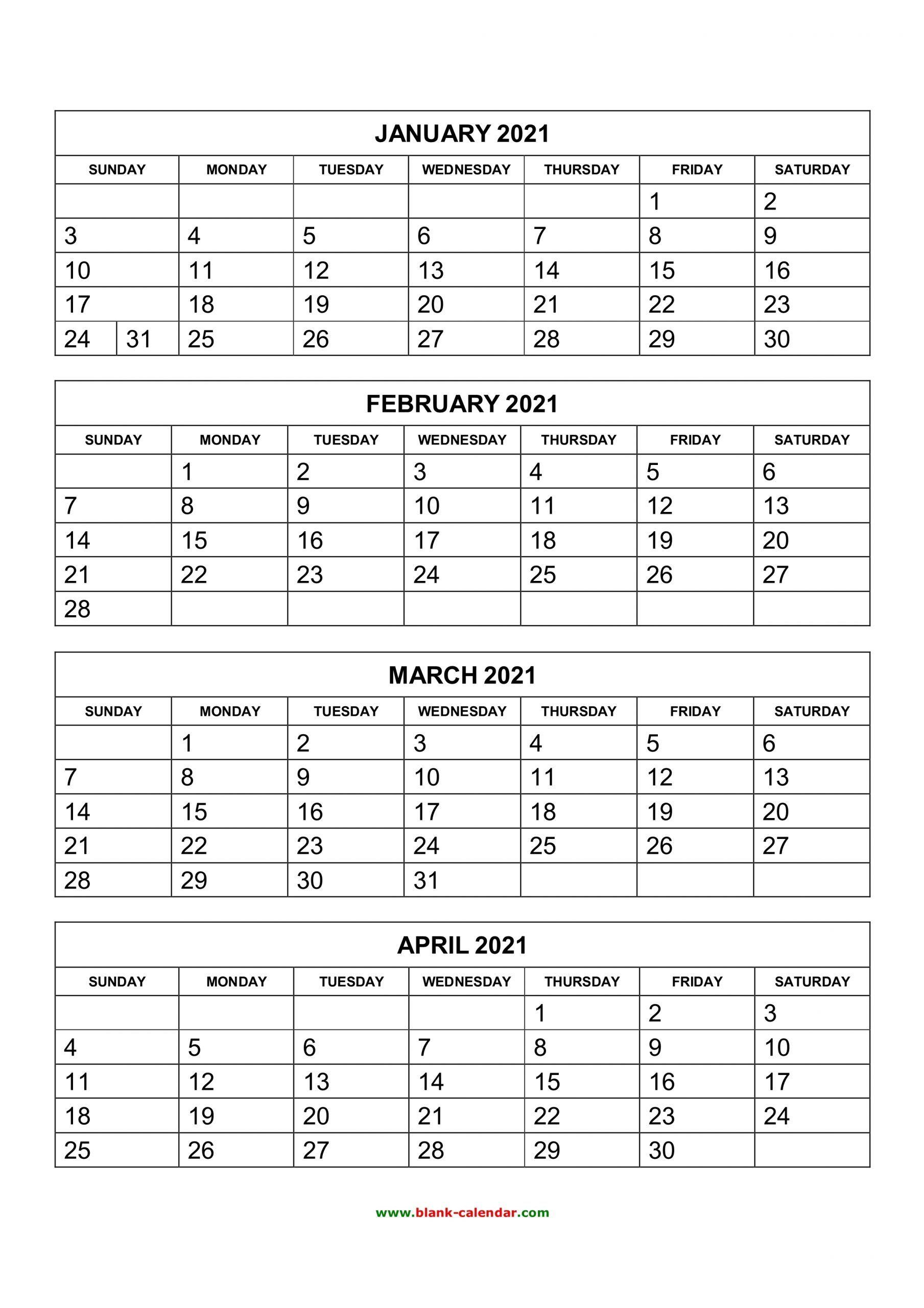 2021 Calendar Free Printable 4 Month Calendar Printables 2021 Calendar Calendar