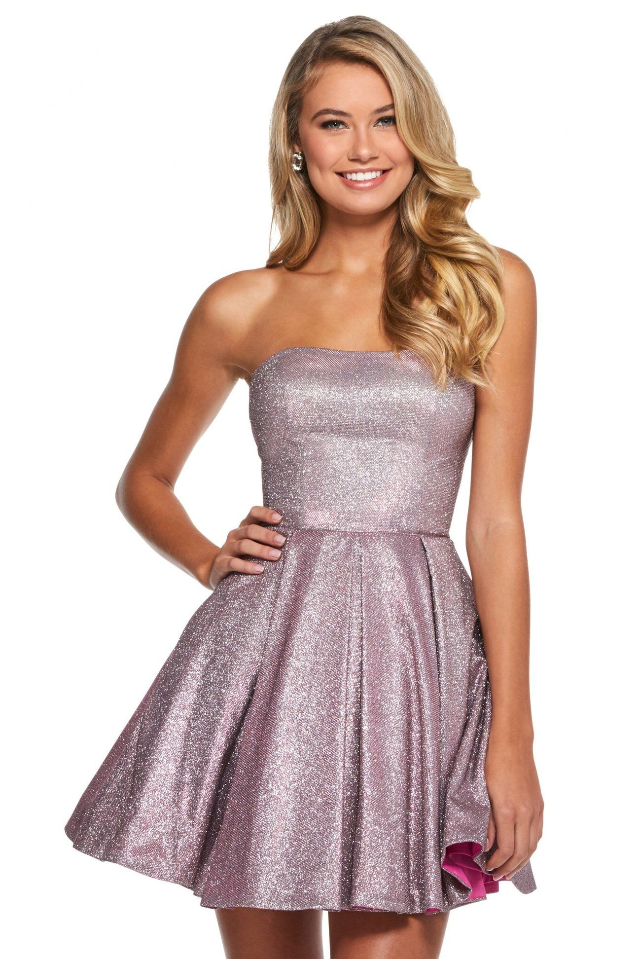 Sherri Hill 52971 Short Strapless Glitter Knit A Line Dress In 2021 Prom Dresses Long With Sleeves Homecoming Dresses Short Sherri Hill Short Dresses [ 1944 x 1296 Pixel ]