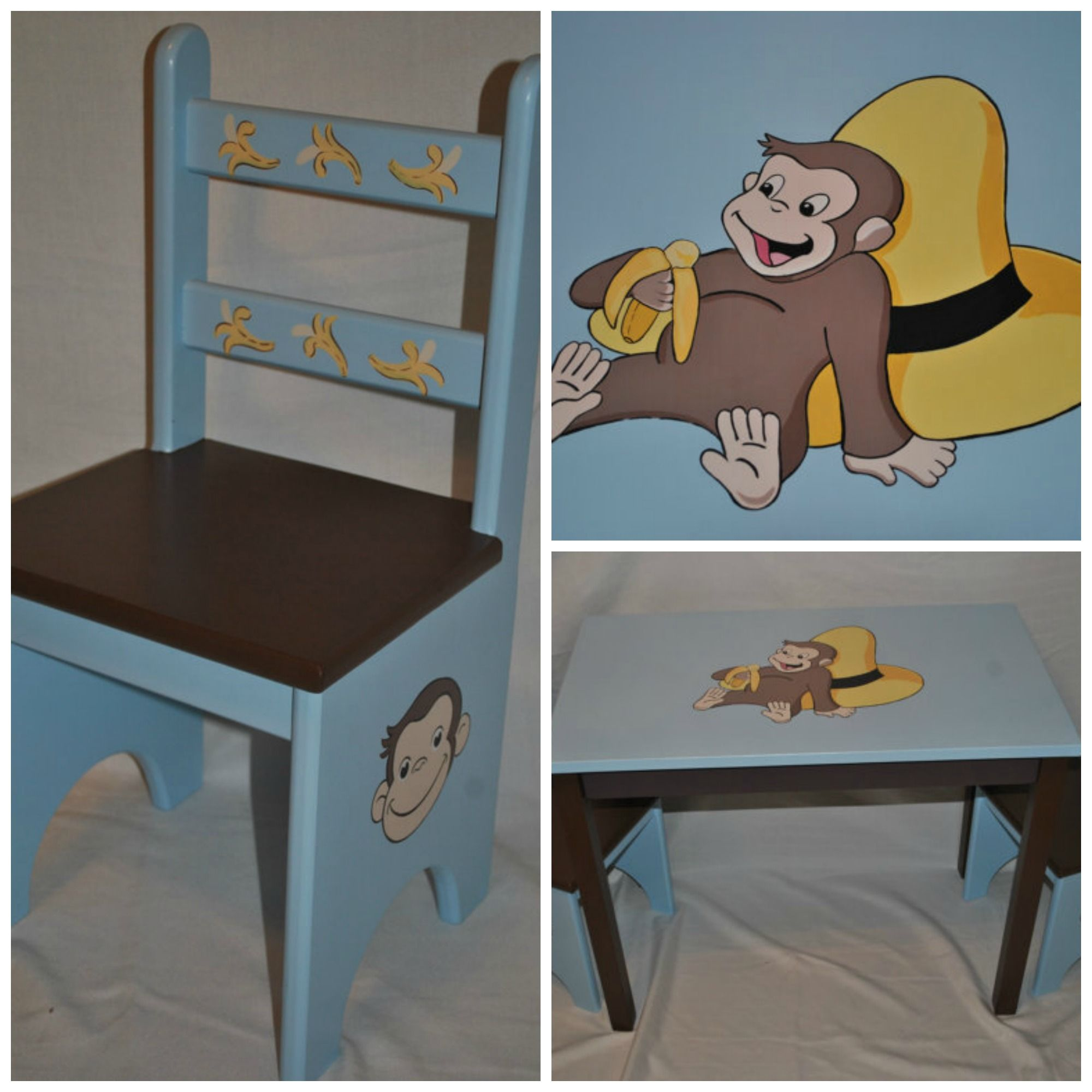 Children\u0027s Table and Chair Set \u2013 Curious George Design hand painted by onmyown14 on etsy. & Children\u0027s Table and Chair Set \u2013 Curious George Design hand painted ...