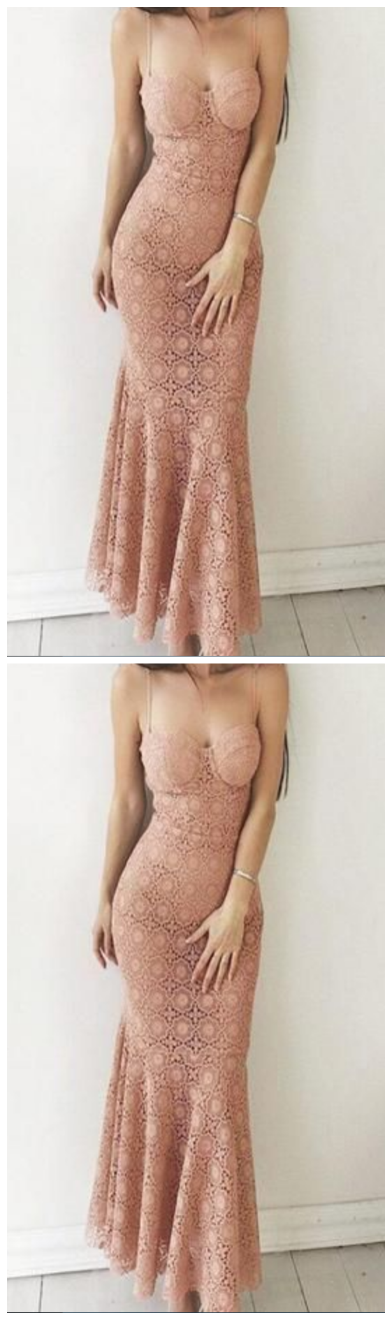 Elegant High Quliaty Charming Mermaid Spaghetti Straps Pink Lace Long Prom Party Dresses