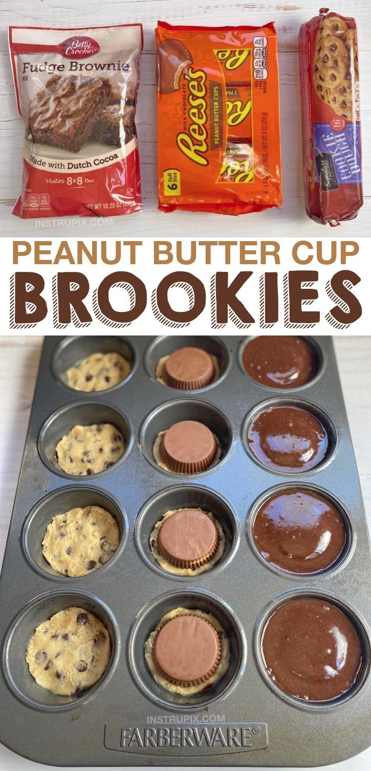 Looking for quick and easy dessert recipes? These peanut butter chocolate brookies are made with just 3 simple ingredients plus the oil and egg for the brownie batter. A very popular homemade dessert recipe in my family! Perfect for a crowd or celebrating a birthday. Serve warm with vanilla ice cream! This creative dessert idea is always a hit. Simply layer everything in a muffin tin, bake and enjoy. Yummy! #dessert #instrupix #chocolate #peanutbutter #brookies