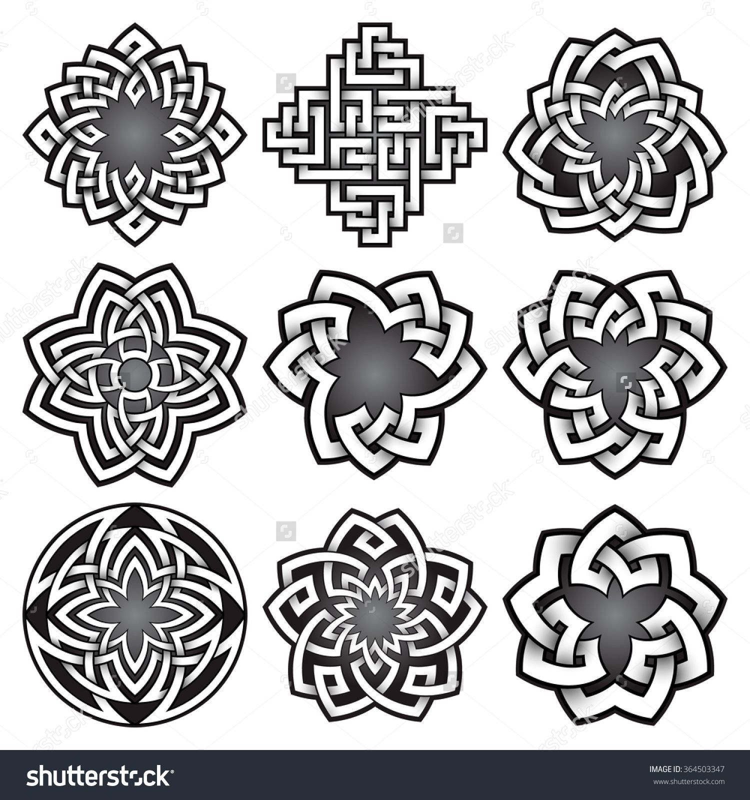 Set Of Logo Templates In Celtic Knots Style Tribal Tattoo