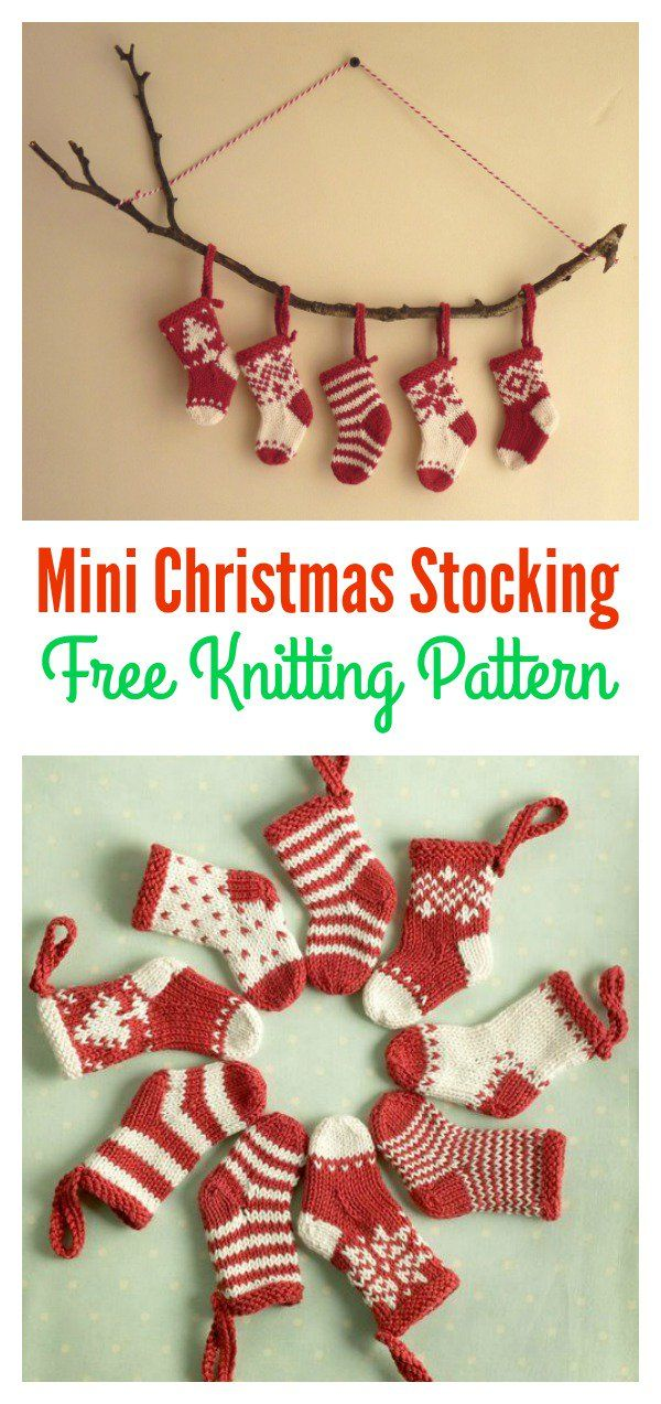 Mini Christmas Stocking Free Knitting Pattern | Knitting patterns ...