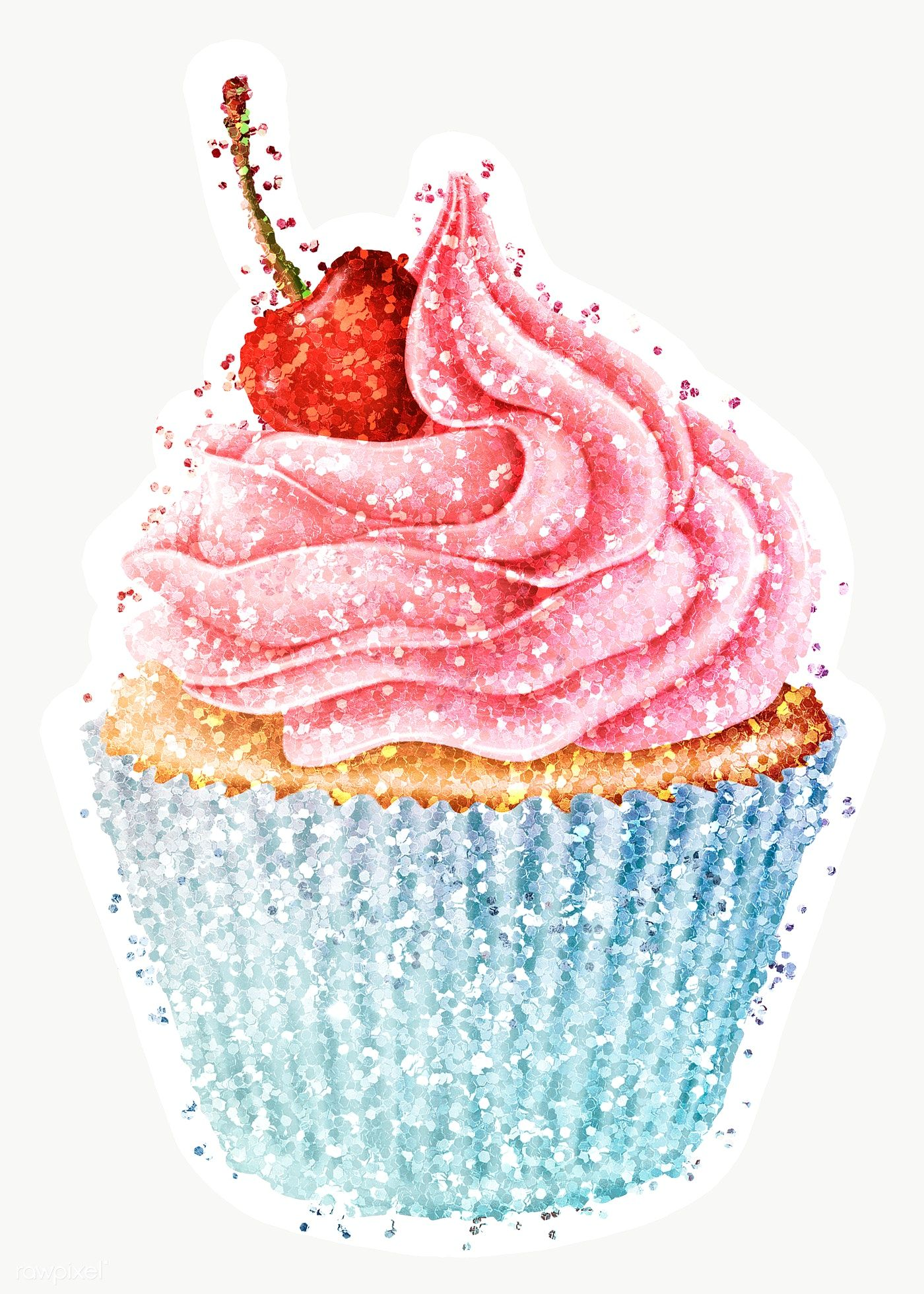 Glitter Cherry Cupcake Sticker With White Border Free Image By Rawpixel Com Ployploy Cherry Cupcakes Bling Cakes Cupcake Png