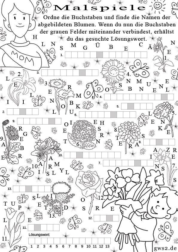 Blumen Rätsel für Kinder | Happy Mother`s Day | Pinterest ...
