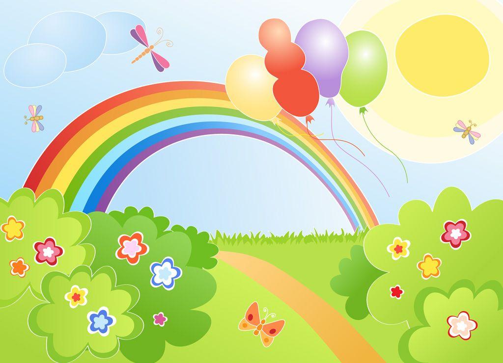 フリーイラスト素材 イラスト 風景 自然 虹 小道 風船