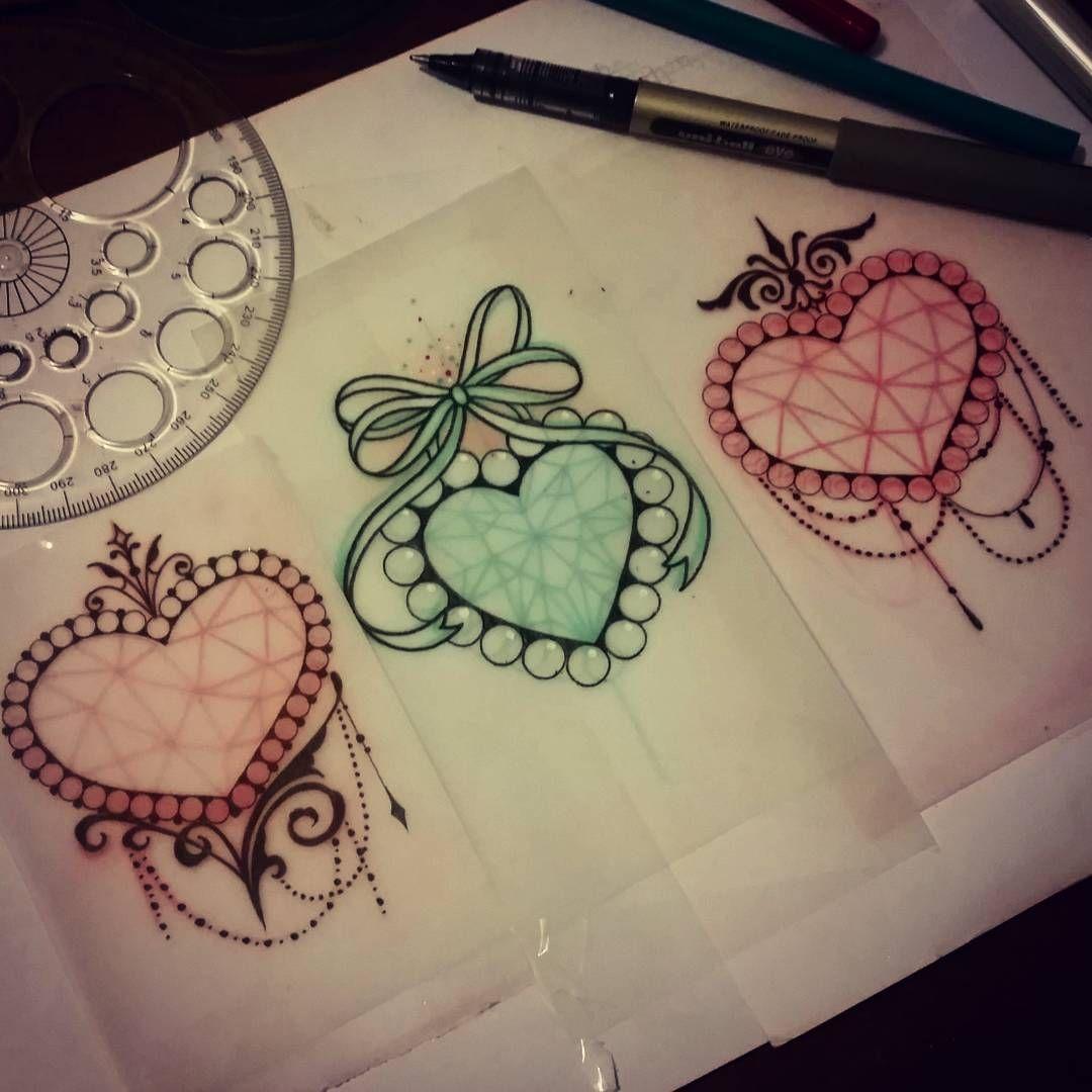 Heart gem tattoos by Sophie Adamson, UK