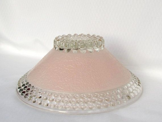Vintage Pink And White Glass Ceiling Light Cover Shade By