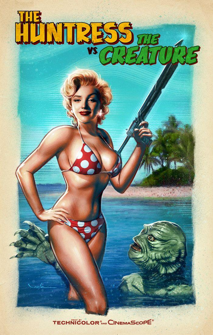 Valenzuela Creature Black Lagoon Marilyn Monroe /< Huntress Returns /> Art Print