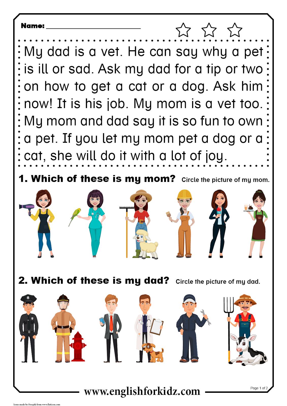 Reading Comprehension Worksheets Short Word Stories In