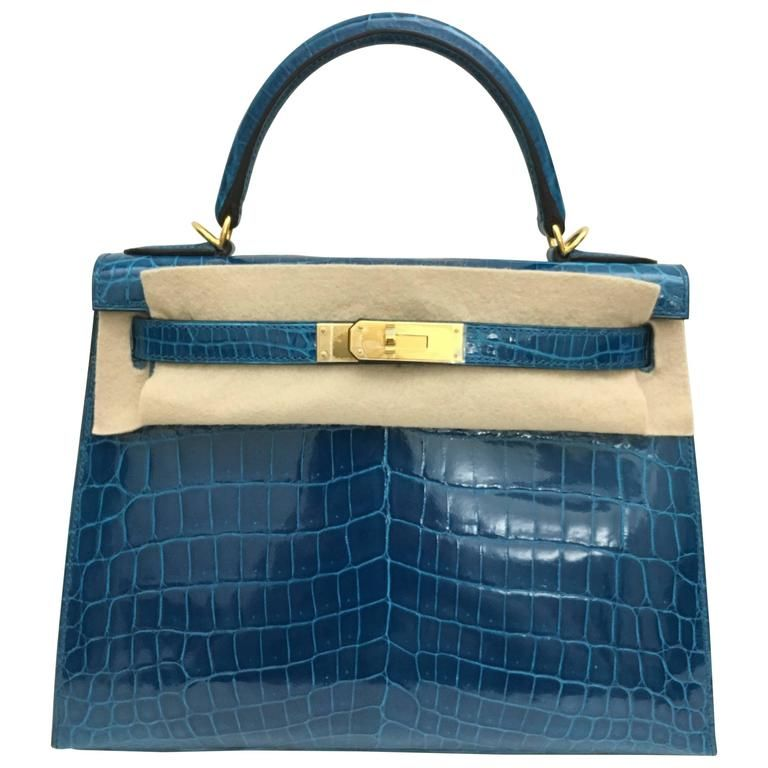d03949698d Brand New Hermes Kelly 28 Blue Izmir Shiny Croc GHW