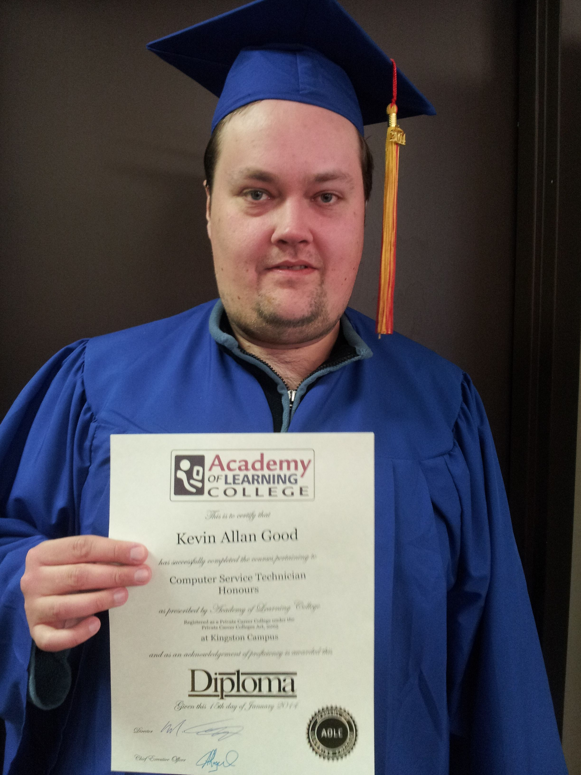 congratulations to recent academy of learning college graduate congratulations to recent academy of learning college graduate kevin g who successfully achieved his computer