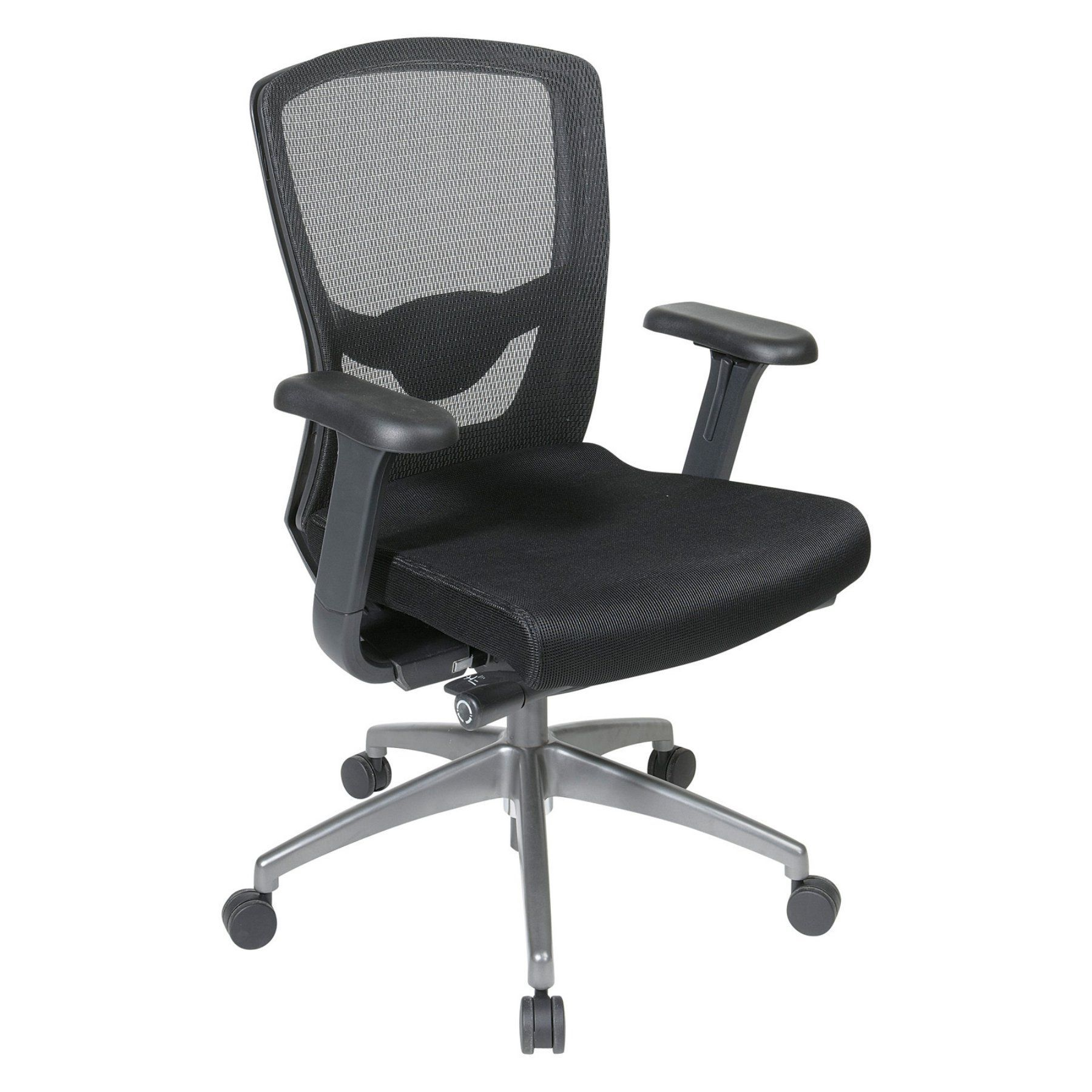 Office star black progrid high back chair with adjustable arms and