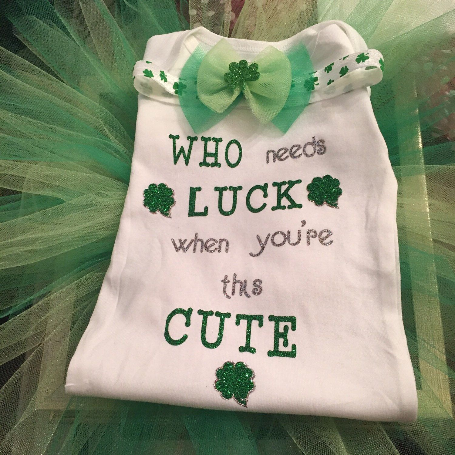 St Patrick S Day Outfit Set Onesie Shirt Tutu Green