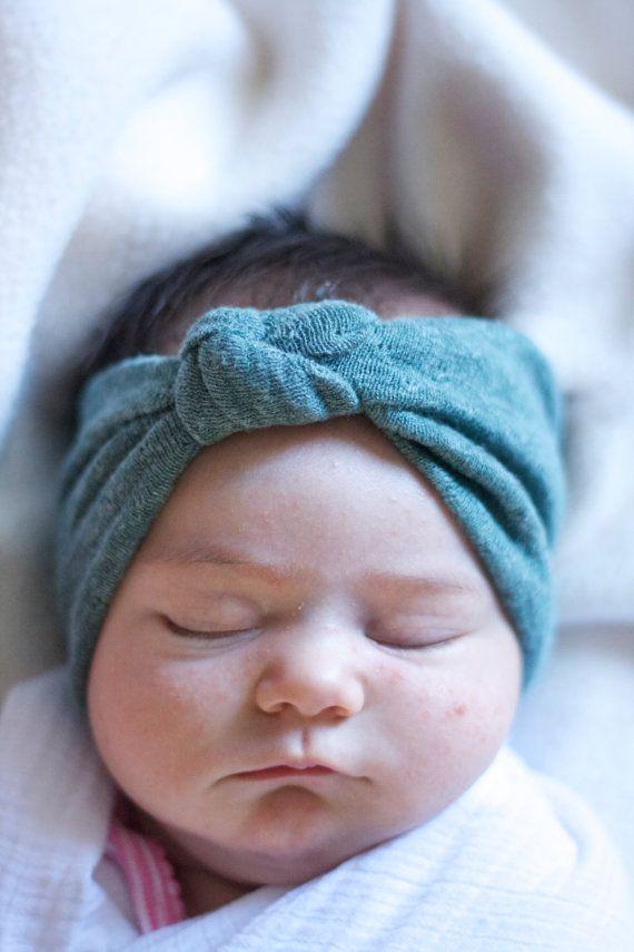 Seafoam Green Baby Girl Knotted Turban Headband by MAMAOWLSHOP abe2444278e