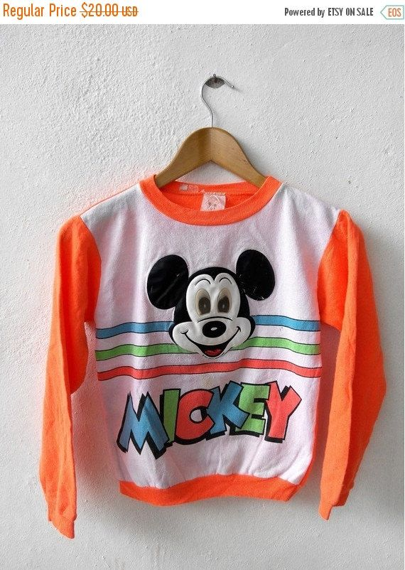Vintage MICKEY Mouse Orange Walt Disney Punk Fashion Cartoon Blue Sweater Youth M (10-12) Tag reads: 100% cotton M Youth (10-12) (check