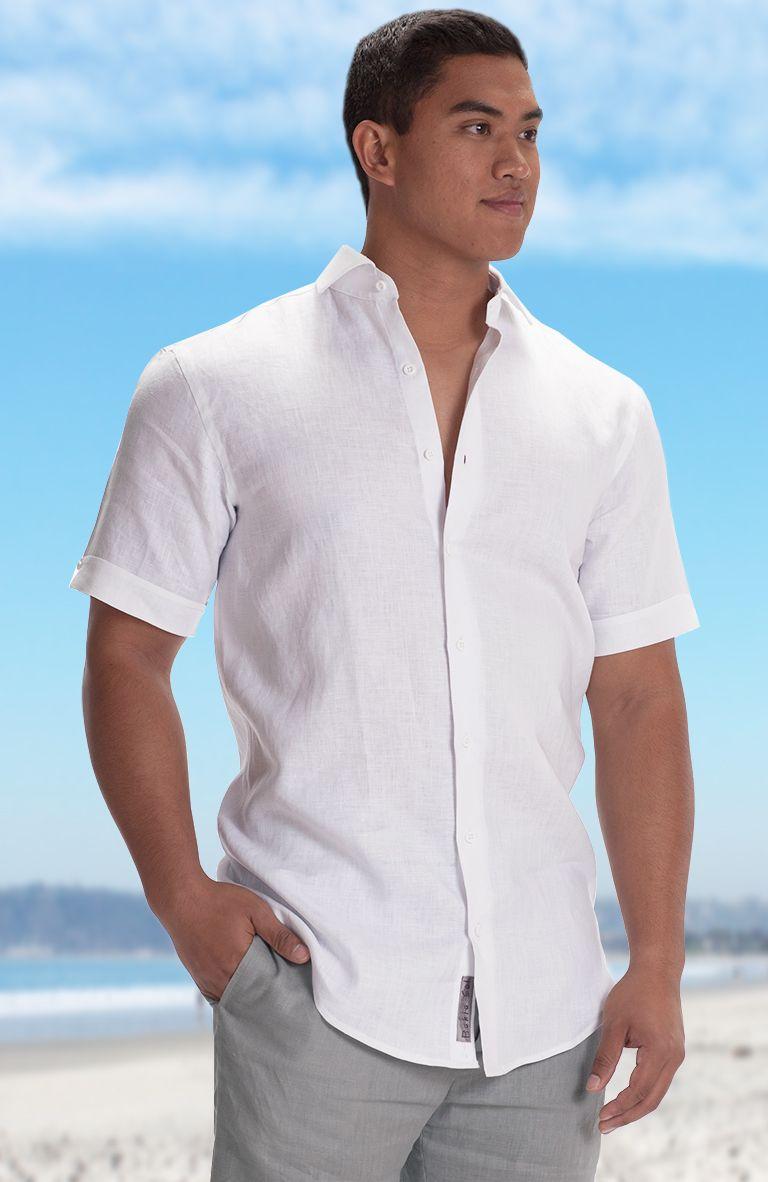 Bradford White Linen Beach Wedding Shirt In Short Sleeve Silver Gray Pant Beach Wedding Shirts Beach Wedding Outfit Mens Beach Wedding Attire [ 1182 x 768 Pixel ]