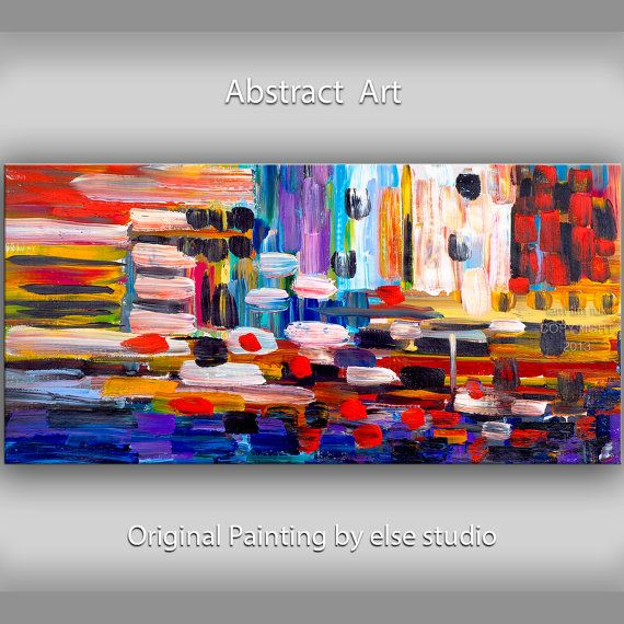 Original Texture Art painting huge Impasto brushwork oil painting Abstract Painting on gallery wrap linen canvas by Tim Lam 48 x 24 via Etsy