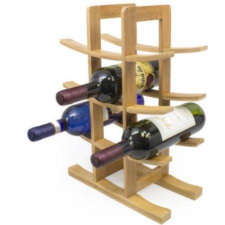 Sorbus Bamboo Wine Rack, Holds 12 Bottles, Brown
