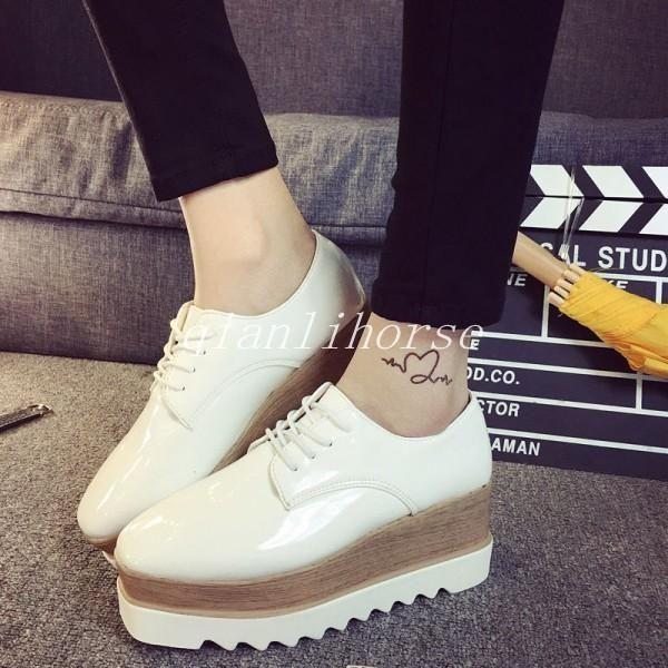 bac9de926bfb Womens Shiny Lace Up Flats Double Platform Creepers Shoe Oxfords Fashion  Sneaker