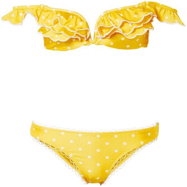Zimmermann Lumino Dot off-the-shoulder printed bikini (2.670 NOK) ❤ liked on Polyvore featuring swimwear, bikinis, yellow, polka dot bikinis, zimmermann bikini, yellow bikini, frill bikini and yellow bikini swimwear