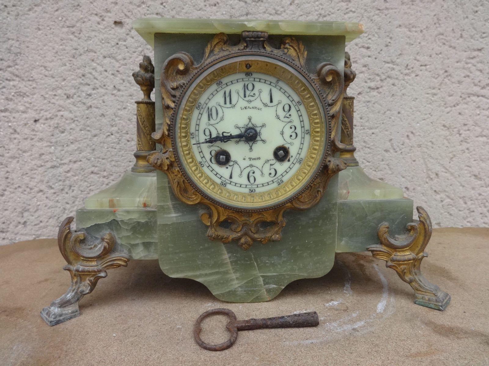 Célèbre Horloge Pendule à Poser Ancienne en Marbre Vert Mouvement Japy et  LS62