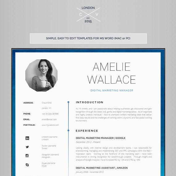 Marketing Resume Template For Word Printable Cv For Word Etsy Resume Template Cv Template Cover Letter Template