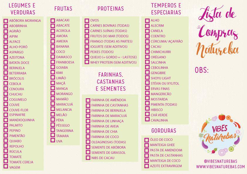 Resultado De Imagem Para Lista De Compras Dieta Low Carb Lista