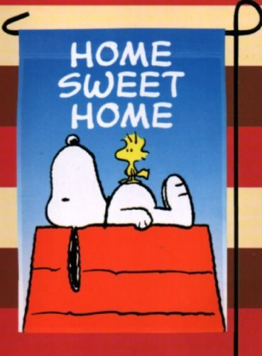 Garden Flag Snoopy Peanuts Home Sweet Home Red Doghouse Mini Outdoor Small  NEW