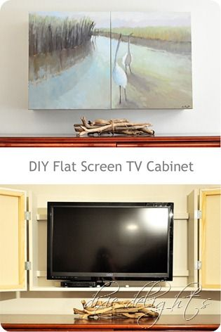 DIY Flat Screen TV Cabinet. With our TV, it would have to be deep, 32 in  wide, 24 in