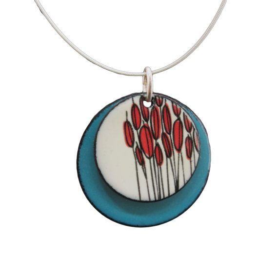 Cattails Necklace Off White and Turquoise Blue by marmarModern