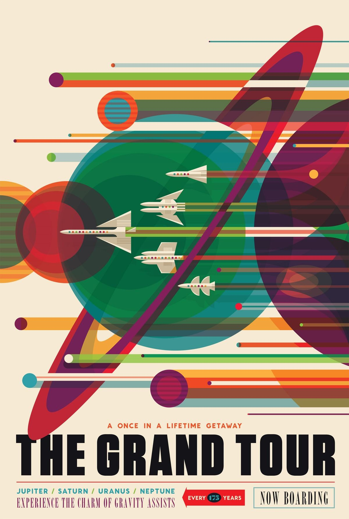 Vintage inspired poster from NASA. Uses shape and line to prioritize elements. White of the Jet plane contrasts with the color to make it stand out, as bell as the bold, black typography on the beige background