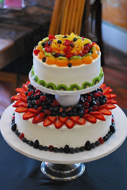 fresh fruit whip cream wedding cake Plain cake Wedding cake and