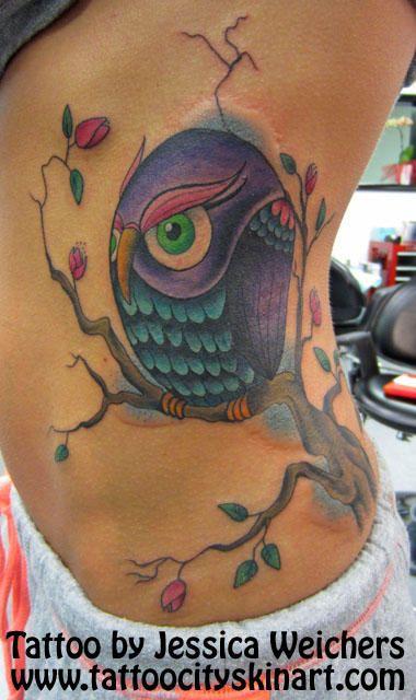 colorful owl tattoo by jessica weichers tattoo city lockport il tattoo femaletattoo. Black Bedroom Furniture Sets. Home Design Ideas