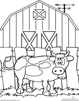 Cow Coloring Page Worksheet
