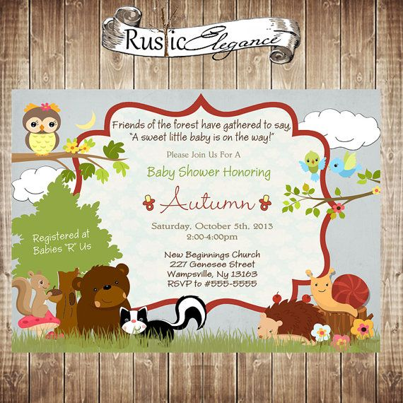 Printable Forest Themed Baby Shower Invitation   Woodland Animal Baby Shower  Invitation Neutral