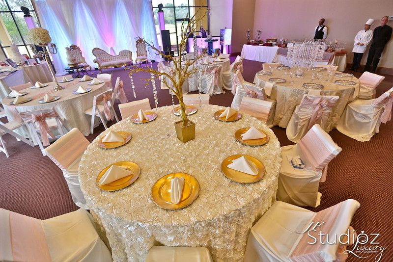 Ivory Rosette Table Cloth With Ivory Chair Cover And Blush Sash Blushwedding Ivory Chair Chair Cover Event Decor