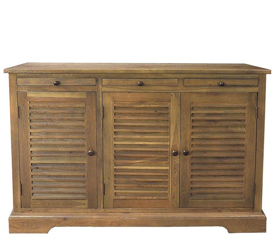 Shutter Buffet Cabinet Sideboard Oak Handmade Persiennes Style New