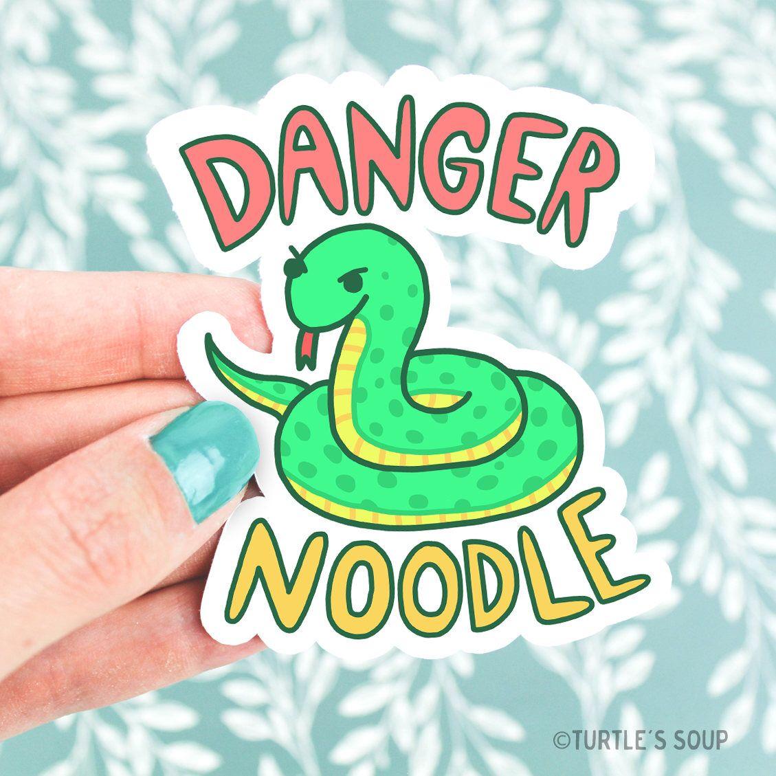 Serpent Art Snake Vinyl Sticker Danger Noodle Funny Pun Cute Green Snake Snake Decal Snake Art Snak Cute Stickers Snake Illustration Hydroflask Stickers [ 1129 x 1129 Pixel ]