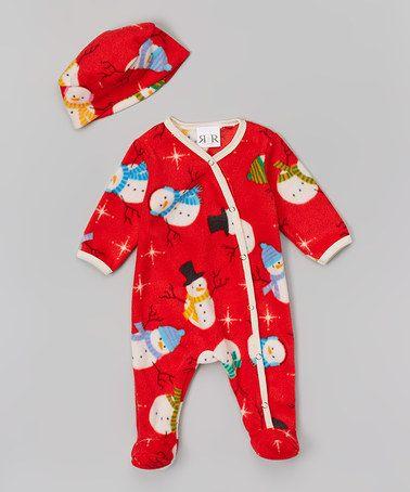 Look at this #zulilyfind! Red Sam the Snowman Footie & Beanie - Infant by Rockingham Road #zulilyfinds