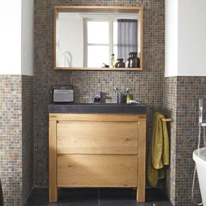 Salle de bain zen : jouez la carte du meuble en bois | Salle de ...