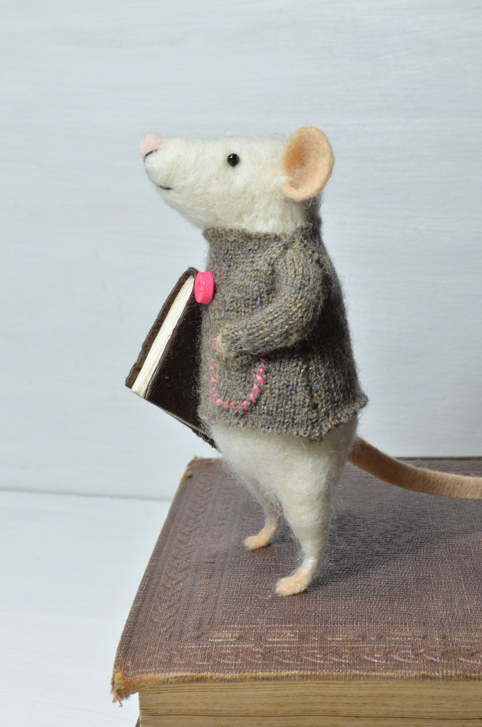 Little reader mouse unique needle felted ornament animal