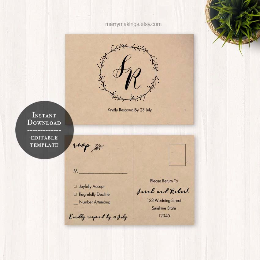 free templates for wedding response cards%0A wedding postcard reply card printable postcard by MarryMakings
