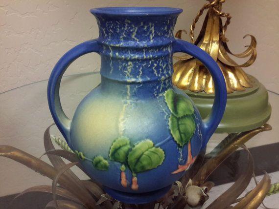 Roseville Pottery Blue Fuschia Vase 1939 Dual Handle Fuschia Flower