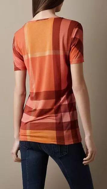 Name Brand 2016 Summer Female Short Sleeve Cotton T-shirt Plaid Striped Designer O-neck British Slim Women Tees Tshirts BK0879