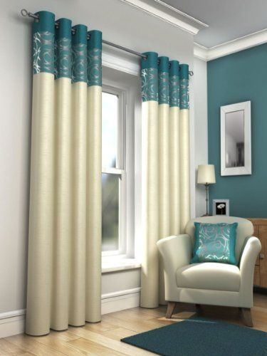Teal Blue Retro Lined Eyelet Curtains Faux Silk Skye 66x90
