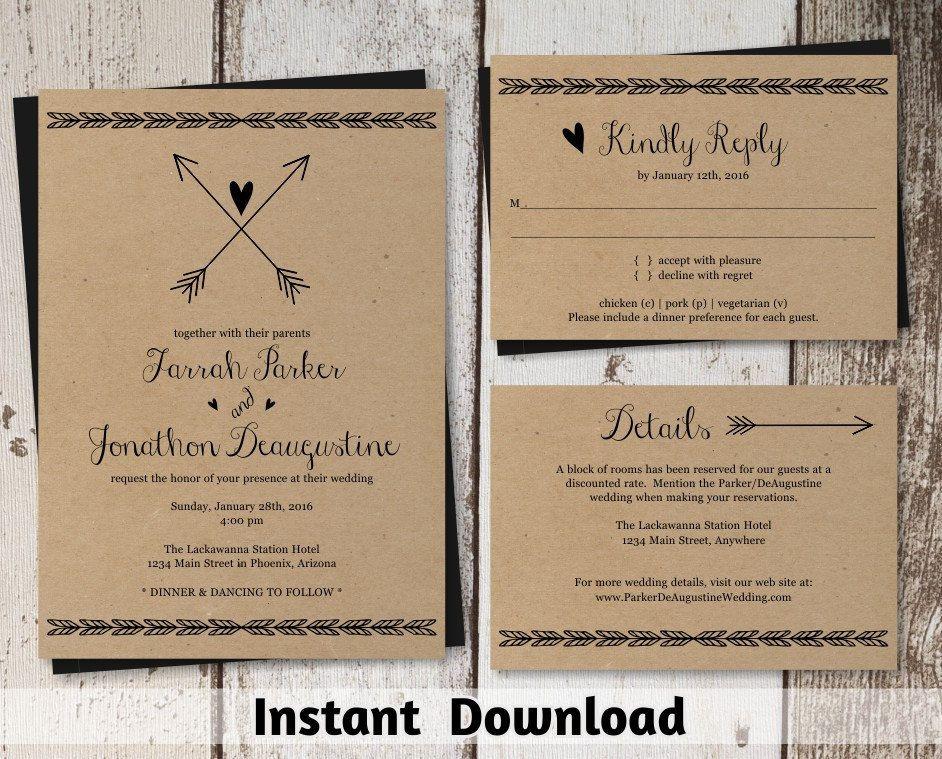 Wedding Invitation Template - Printable Set   Boho Heart & Arrow Suite on Kraft Paper   Rustic Bohemium Editable PDF   DIY Instant Download by InstantInvitation on Etsy https://www.etsy.com/listing/265351733/wedding-invitation-template-printable