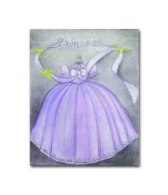 Arte de la pared de rosa Vestido de princesa para por handpainting
