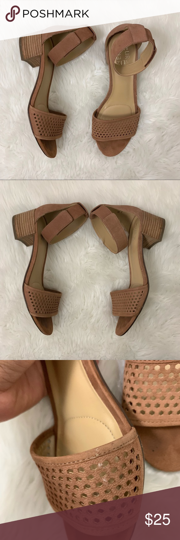 """ab606083a93c Naturalizer Faith Leather Ankle Strap Sandal Some light marks  scuff as  shown However still these are in such great condition Color is """"saddle tan""""  ..."""